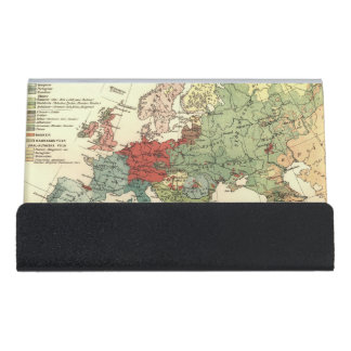 Europe Map Countries World Vintage Desk Business Card Holder