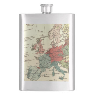 Europe Map Vintage Travel Hip Flask