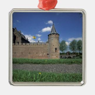 Europe, Netherlands, Muiden Muiden Castle Silver-Colored Square Decoration
