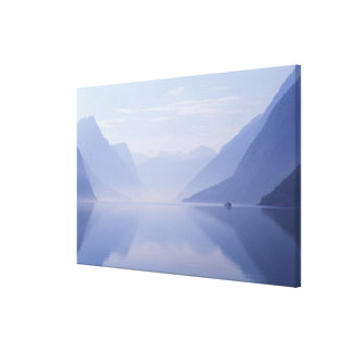 Europe, Norway. Vertical walls reflected in Gallery Wrapped Canvas