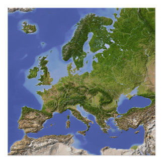 Europe, shaded relief map poster