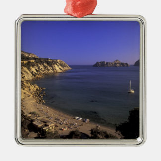 Europe, Spain, Balearics, Ibiza, Cala d'Hort Silver-Colored Square Decoration