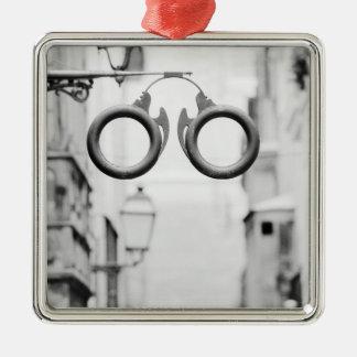 Europe, Spain, Mallorca. Eyeglass shop sign, Metal Ornament