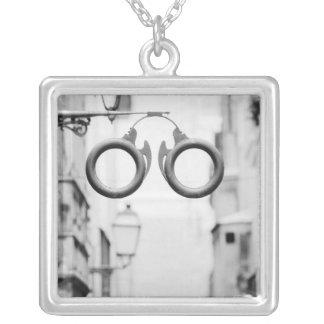Europe, Spain, Mallorca. Eyeglass shop sign, Square Pendant Necklace