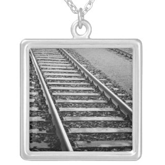 Europe, Switzerland, Zurich. Train tracks Silver Plated Necklace