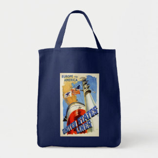 Europe to America ~ United States Lines Grocery Tote Bag