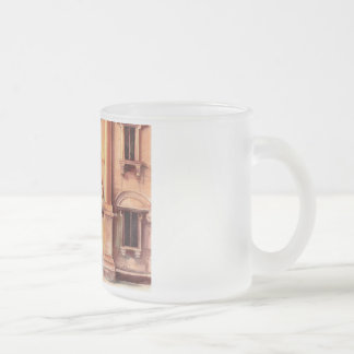 European architectural detail frosted glass coffee mug