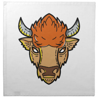 European Bison Mono Line Art Napkin