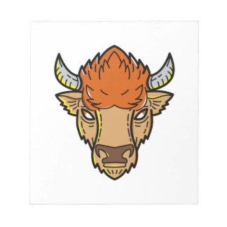European Bison Mono Line Art Notepad