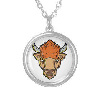 European Bison Mono Line Art Silver Plated Necklace