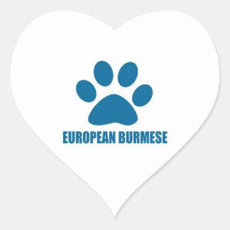 EUROPEAN BURMESE CAT DESIGNS HEART STICKER