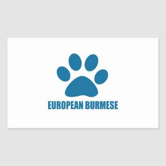 EUROPEAN BURMESE CAT DESIGNS RECTANGULAR STICKER