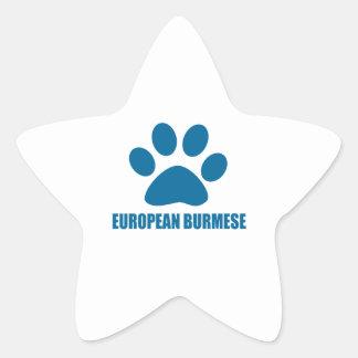 EUROPEAN BURMESE CAT DESIGNS STAR STICKER