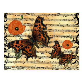European Butterfly with Poppy Postcard