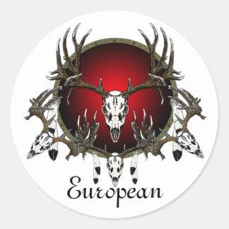 European  deer skulls round sticker