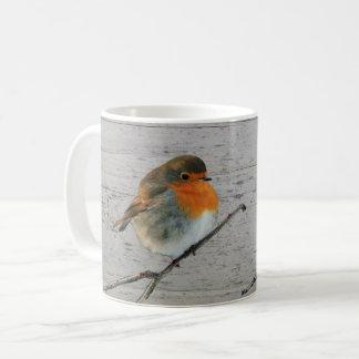 European English Robin bird red breasts driftwood Coffee Mug