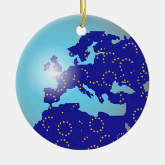 European Flag Globe Double-Sided Ceramic Round Christmas Ornament