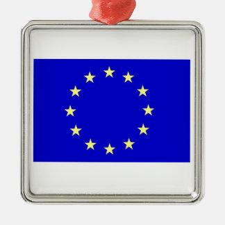 European Flag Silver-Colored Square Decoration