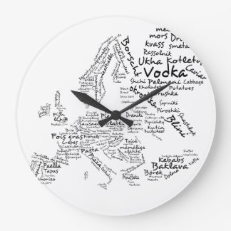 European Food Map Kitchen Clock