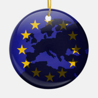 European Globe Double-Sided Ceramic Round Christmas Ornament