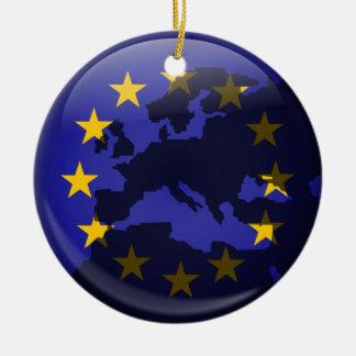 European Globe Double-Sided Ceramic Round Christmas Ornament