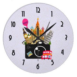 European Landmarks Travel Photographer Large Clock