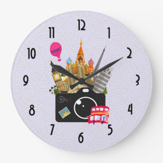European Landmarks Travel Photographer Wall Clock