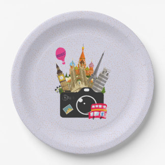European Landmarks with a Camera Paper Plate