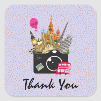 European Landmarks with a Camera Thank You Square Sticker