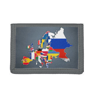 European Map | Country Flags Trifold Wallets