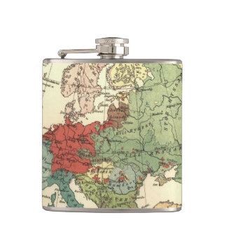 European map vintage travel hip flask