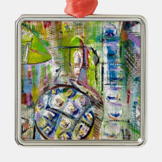 european market abstract Silver-Colored square decoration