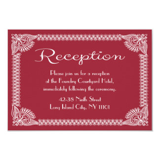 European Red Burgundy And White Floral Reception 9 Cm X 13 Cm Invitation Card