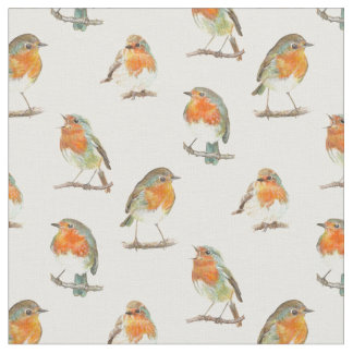 European red robin bird design. fabric