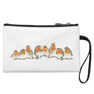 European red robin bird design. wristlet