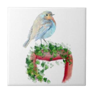 European Robin, Bird, Watercolor Bird, Nature Small Square Tile