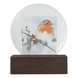 European Robin Garden Bird Nature Winter Holly Snow Globe