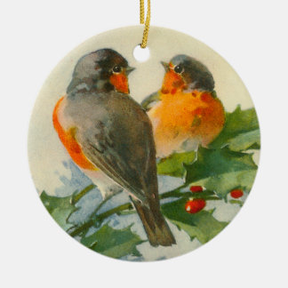 European Robin & Holly Double-Sided Ceramic Round Christmas Ornament
