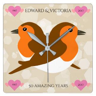 European Robins: 50 Years Wedding Anniversary Square Wall Clock
