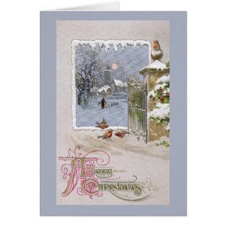 European Robins at Gate to Village Card