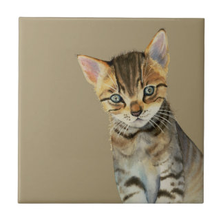 European Shorthair Kitten Watercolor Painting Ceramic Tile