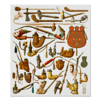 European smoking pipes, cases and utensils poster