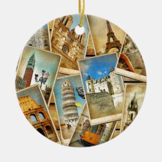 European snapshots ceramic ornament
