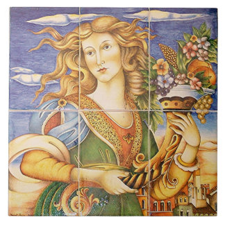 European Spanish Tile Woman Cornucopia Mosaic
