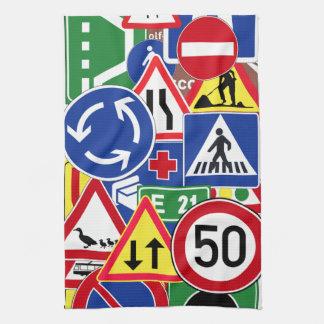 European Traffic Signs Collage Tea Towel