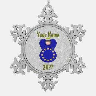 European Union Angel Flag Black Hair Pewter Snowflake Decoration