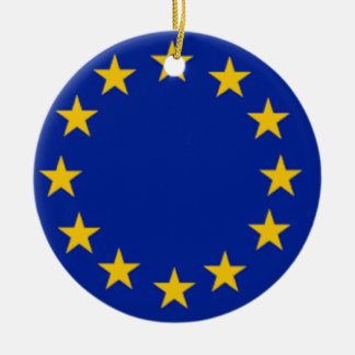 European Union Flag Double-Sided Ceramic Round Christmas Ornament