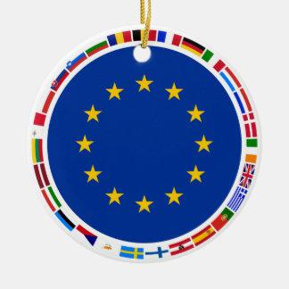 European Union Flags Round Ceramic Decoration