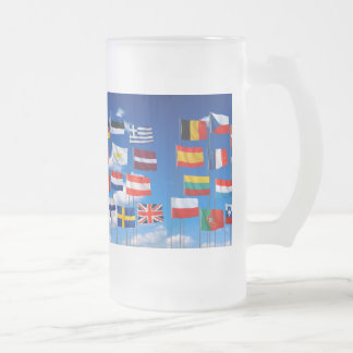 EUROPEAN UNION FROSTED GLASS BEER MUG
