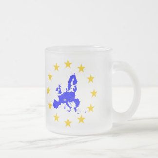 European union frosted glass coffee mug